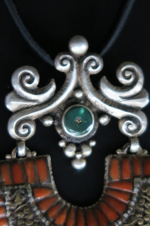 Large silver tibetan necklace handcrafted in nepal close up upper part tibetan necklace aloadofball Choice Image
