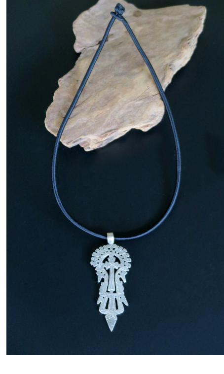 Vintage Ethiopian Lalibela Coptic Cross Pendant Necklace