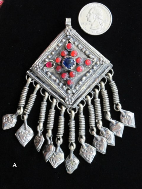 Kuchi vintage tribal jewelry pendant with bright beads tribal jewelry kuchi pendant with coin a aloadofball Gallery