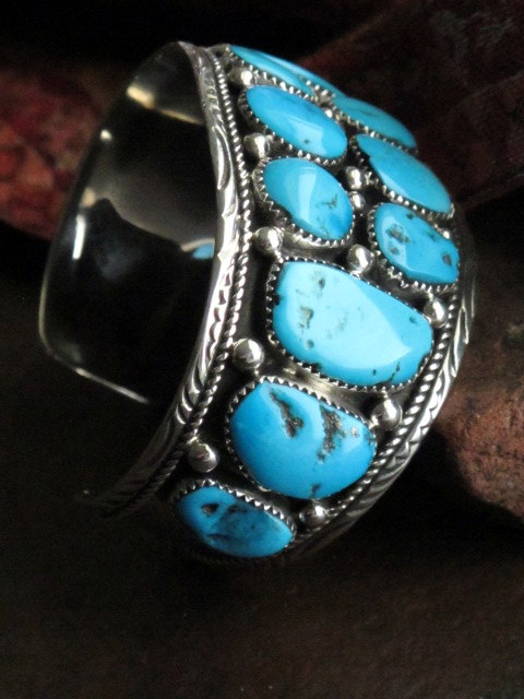 Large Navajo Turquoise And Silver Cuff With Hallmark