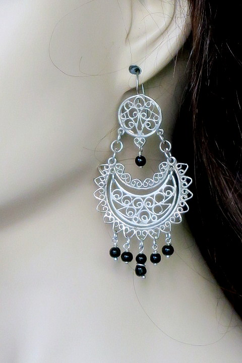 Sterling silver long filigree earrings from oaxaca earrngs large silver filigree mexican silver earrings mozeypictures Choice Image
