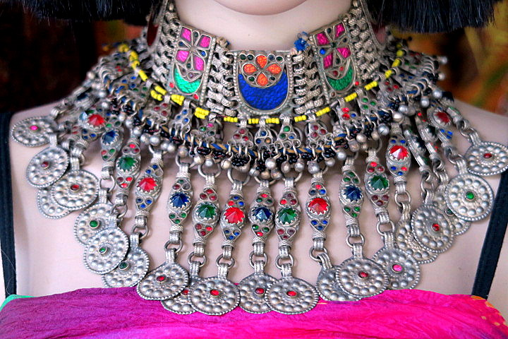 Lavishly handcrafted large vintage kuchi necklace large vintage kuchi necklace on manikin aloadofball Gallery