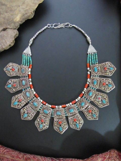 Unique Nepalese Antiqued Tribal Jewelry Necklace