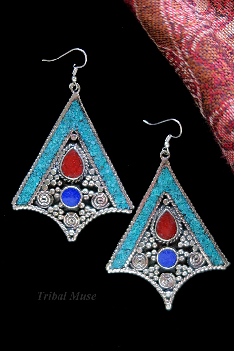 Large Himalayan Tribal Jewelry Dangle Earrings