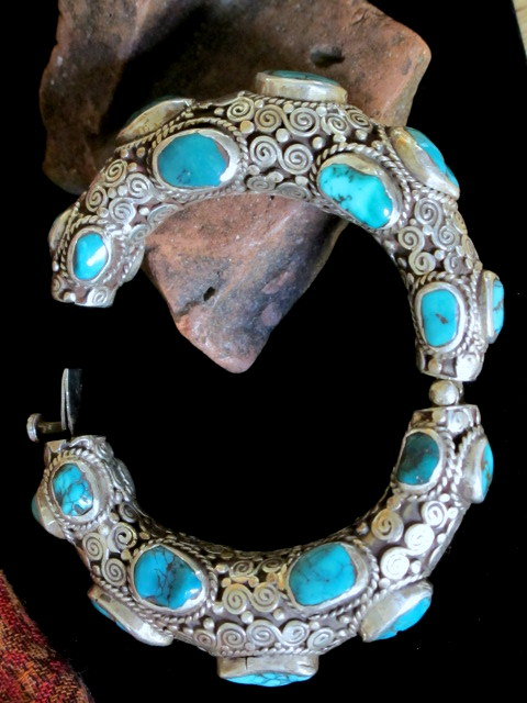 Old Tibetan Jewelry Turquoise And Silver Tribal Cuff Bracelet Collectible