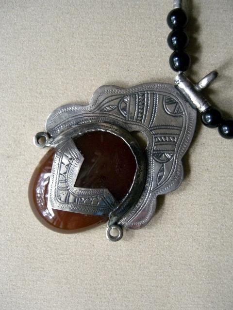 African tuareg tribal necklace carnelian artisan signed african tuareg necklace mozeypictures Images