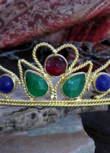 Turkish Tiara Crown With Semi Precious Stones