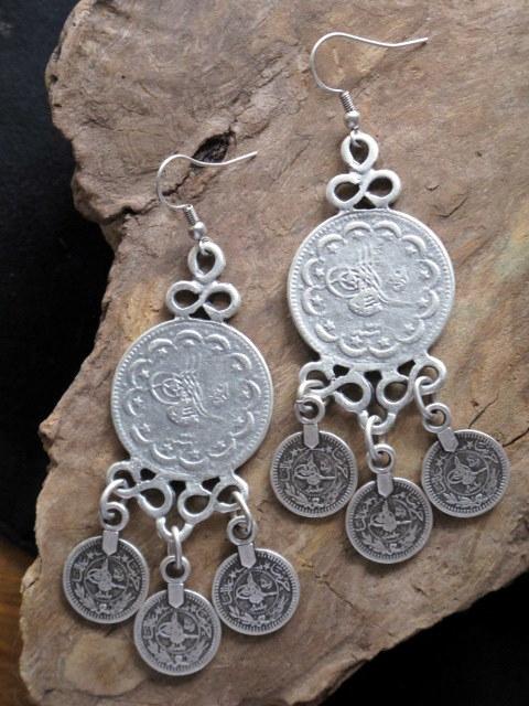 Turkish Tribal Jewelry Gyspy Coin Dangle Earrings