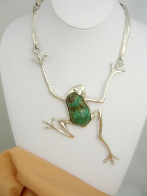 Turquoise frog pendant necklace taxco sterling silver sterling silver necklace mozeypictures Image collections