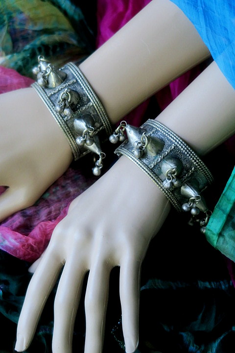Vintage Afghan Kuchi Tribal Jewelry Spike Cuff Bracelets PAIR