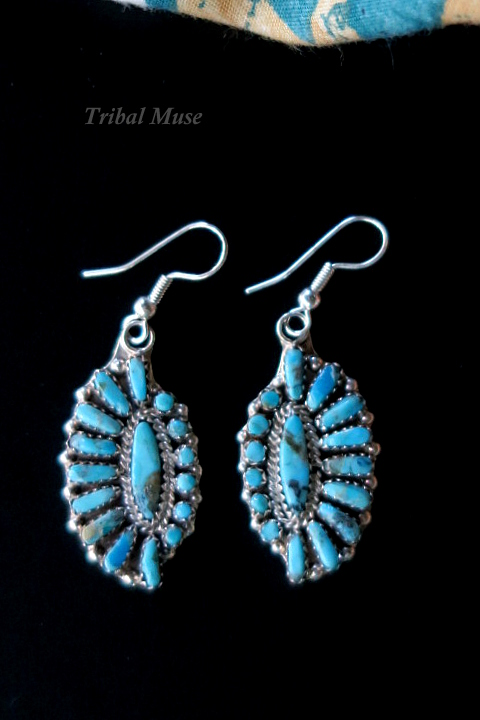 Turquoise And Silver Zuni Indian Earrings