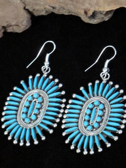 iva booqua native american indian zuni turquoise earrings