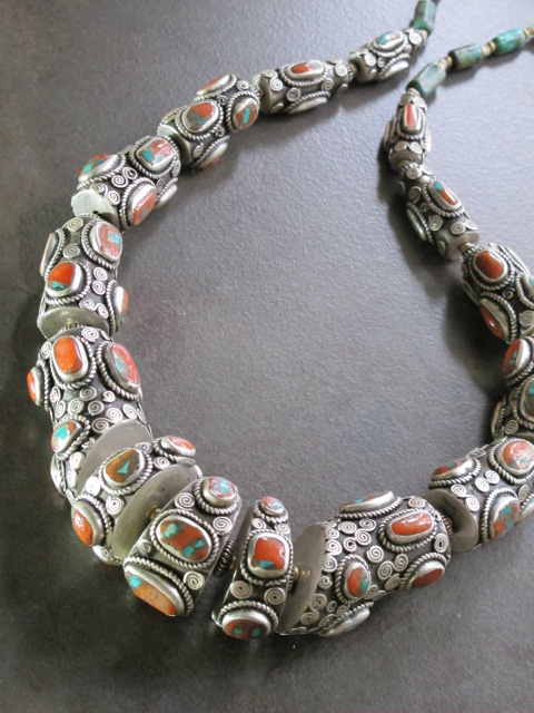 Antique tibetan tribal jewelry articulated silver necklace serpent like old tibetan silver necklace aloadofball Gallery