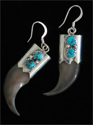 Navajo Indian Bear Claw Earrings