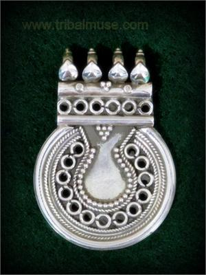 Traditional Rajasthani Silver Pendant From India