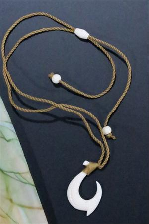 Carved Fish Hook Maori Ethnic Necklace