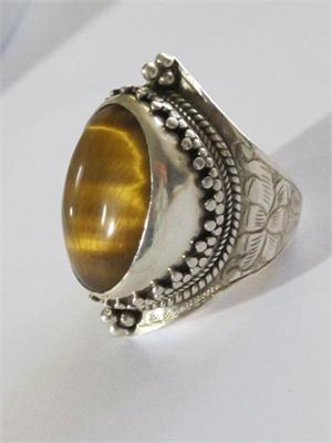 Large Tigers Eye And Sterling Silver Ring From Nepal