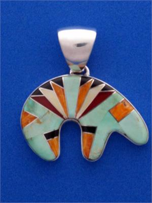 Zuni bear turquoise inlay pendant with whiterock hallmark handcrafted zuni bear inlay pendant mozeypictures Choice Image