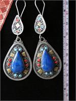 Large Afghan Lapis Lazuli Dangle Earrings In The Laghman