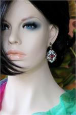 Bollywood earrings on manikin