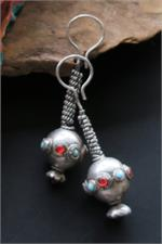 Old tribal jewelry silver earrings