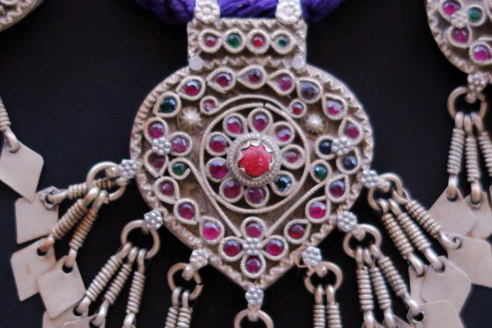 Large Vintage Kashmiri Pendants Necklace For The Nomadic