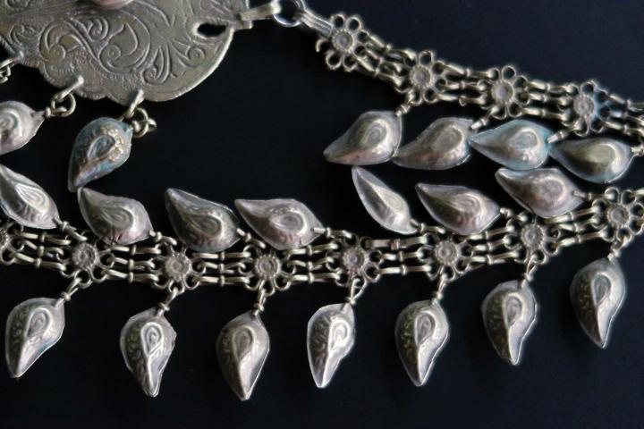Long Vintage Double Pendant Kashmiri Kuchi Necklace From