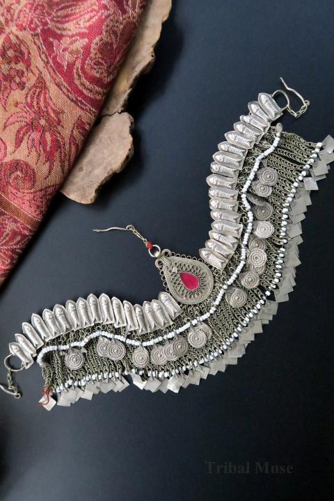 Vintage Afghan Hazara Tribal Jewellery Headdress
