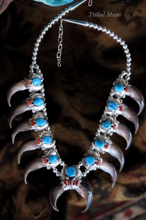 Native American Navajo Handmade Sterling Silver Coral Bearclaw Earrings