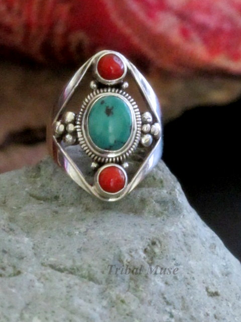 Nepalese Turquoise And Red Coral Silver Ring