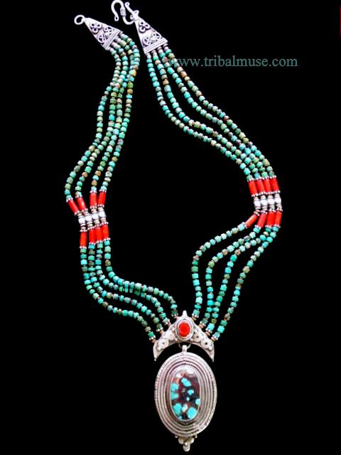 Tribal Jewelry Turquoise Pendant Tribal Pendant Nepal Vintage Necklace..... Handmade Pendant