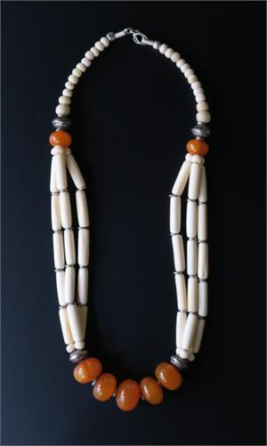 Resin amber and bone jewelry
