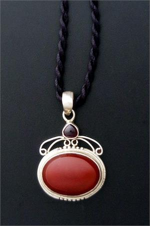 Carnelian and silver pendant