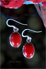 Coral and silver earrings