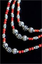 3-strand coral and silver necklace