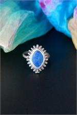 Pointed oval lapis ring